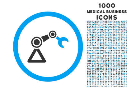 automat: Artificial Manipulator rounded vector bicolor icon with 1000 medical business icons. Set style is flat pictograms, blue and gray colors, white background. Illustration