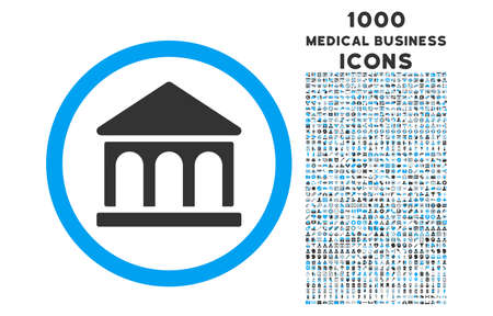 corporative: Bank Building rounded vector bicolor icon with 1000 medical business icons. Set style is flat pictograms, blue and gray colors, white background. Illustration