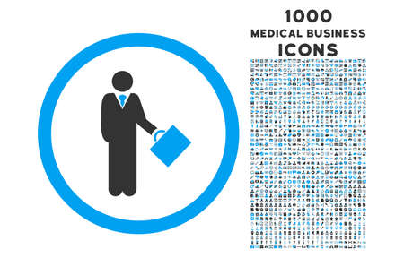 moneymaker: Businessman rounded vector bicolor icon with 1000 medical business icons. Set style is flat pictograms, blue and gray colors, white background.