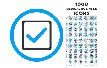 checkbox: Checkbox rounded vector bicolor icon with 1000 medical business icons. Set style is flat pictograms, blue and gray colors, white background.