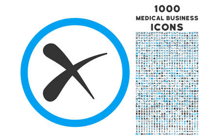 blue circle: Erase rounded vector bicolor icon with 1000 medical business icons. Set style is flat pictograms, blue and gray colors, white background.