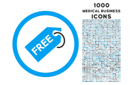 allowed to pass: Free Tag rounded vector bicolor icon with 1000 medical business icons. Set style is flat pictograms, blue and gray colors, white background. Illustration