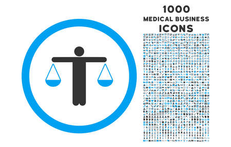approximate: Lawyer rounded vector bicolor icon with 1000 medical business icons. Set style is flat pictograms, blue and gray colors, white background.