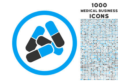 sedative: Pills rounded vector bicolor icon with 1000 medical business icons. Set style is flat pictograms, blue and gray colors, white background.