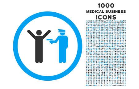 La police arrête arrondie icône vecteur bicolor avec 1000 affaires médicales icônes. Définir le style est plat, des pictogrammes couleurs bleu et gris, fond blanc.