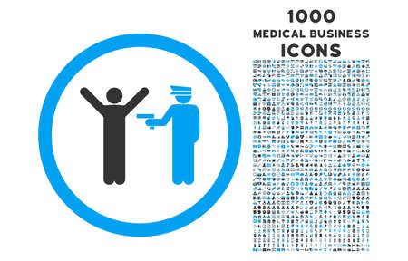 police arrest: Police Arrest rounded vector bicolor icon with 1000 medical business icons. Set style is flat pictograms, blue and gray colors, white background.