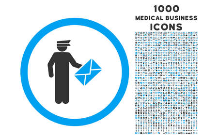 packet driver: Postman rounded vector bicolor icon with 1000 medical business icons. Set style is flat pictograms, blue and gray colors, white background. Illustration