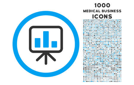 slideshow: Slideshow Screen rounded vector bicolor icon with 1000 medical business icons. Set style is flat pictograms, blue and gray colors, white background.