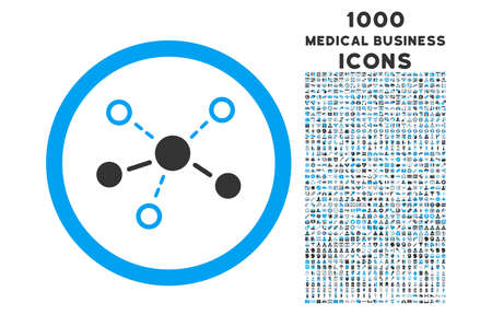 distribute: Structure rounded vector bicolor icon with 1000 medical business icons. Set style is flat pictograms, blue and gray colors, white background.