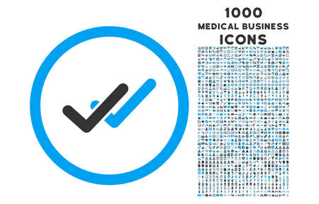 validation: Validation rounded vector bicolor icon with 1000 medical business icons. Set style is flat pictograms, blue and gray colors, white background.