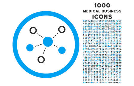 distribute: Virtual Links rounded vector bicolor icon with 1000 medical business icons. Set style is flat pictograms, blue and gray colors, white background.