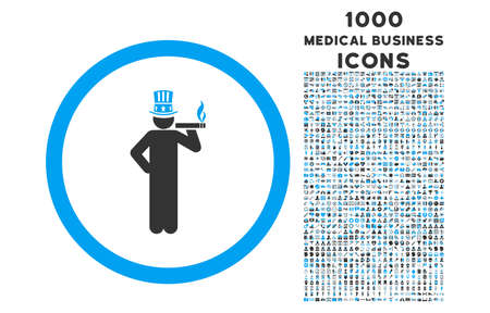 king master: American Capitalist rounded vector bicolor icon with 1000 medical business icons. Set style is flat pictograms, blue and gray colors, white background.