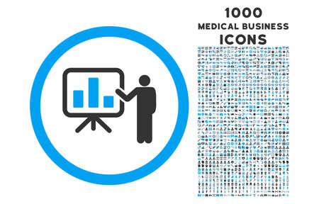 presentaion: Bar Chart Presentation rounded vector bicolor icon with 1000 medical business icons. Set style is flat pictograms, blue and gray colors, white background.