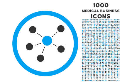 Connections rounded glyph bicolor icon with 1000 medical business icons. Set style is flat pictograms, blue and gray colors, white background.