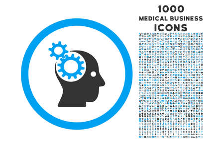 intellect: Intellect Gears rounded glyph bicolor icon with 1000 medical business icons. Set style is flat pictograms, blue and gray colors, white background. Stock Photo