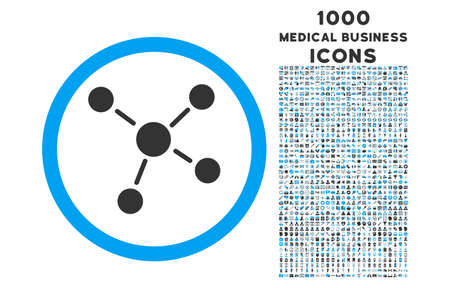 Links rounded glyph bicolor icon with 1000 medical business icons. Set style is flat pictograms, blue and gray colors, white background. Stock Photo