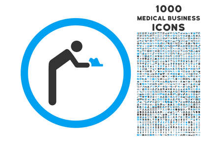 pauperism: Servant rounded glyph bicolor icon with 1000 medical business icons. Set style is flat pictograms, blue and gray colors, white background.