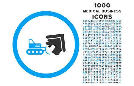 quake: Demolition rounded vector bicolor icon with 1000 medical business icons. Set style is flat pictograms, blue and gray colors, white background.
