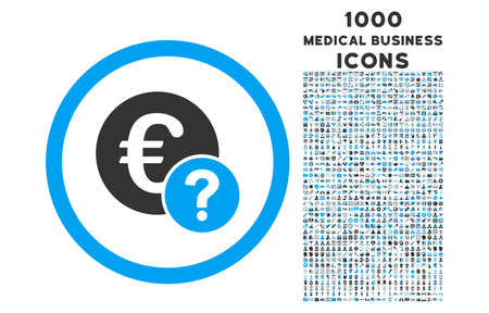 status icon: Euro Status rounded vector bicolor icon with 1000 medical business icons. Set style is flat pictograms, blue and gray colors, white background.