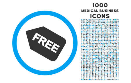 purchased: Free Sticker rounded vector bicolor icon with 1000 medical business icons. Set style is flat pictograms, blue and gray colors, white background.