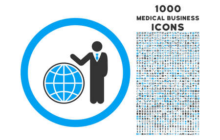 Global Manager rounded vector bicolor icon with 1000 medical business icons. Set style is flat pictograms, blue and gray colors, white background.
