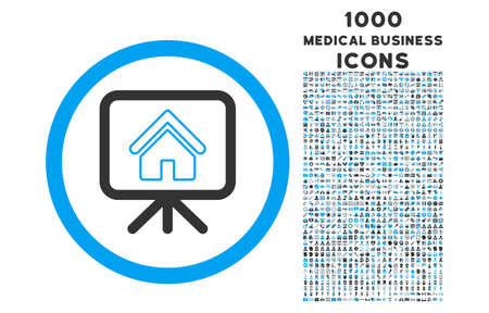 slideshow: Project Slideshow rounded vector bicolor icon with 1000 medical business icons. Set style is flat pictograms, blue and gray colors, white background.