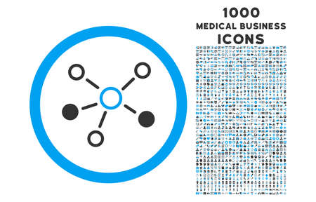 distribute: Relations rounded vector bicolor icon with 1000 medical business icons. Set style is flat pictograms, blue and gray colors, white background.