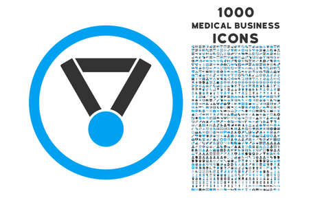 Champion Award rounded vector bicolor icon with 1000 medical business icons. Set style is flat pictograms, blue and gray colors, white background.