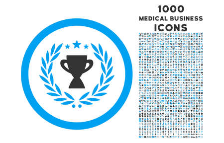 cognizance: Glory rounded vector bicolor icon with 1000 medical business icons. Set style is flat pictograms, blue and gray colors, white background.