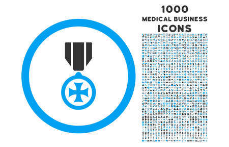 maltese: Maltese Cross rounded vector bicolor icon with 1000 medical business icons. Set style is flat pictograms, blue and gray colors, white background.