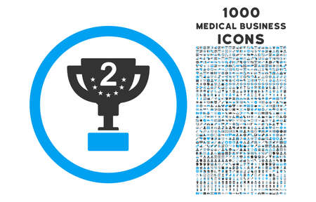 second prize: Second Prize rounded vector bicolor icon with 1000 medical business icons. Set style is flat pictograms, blue and gray colors, white background.