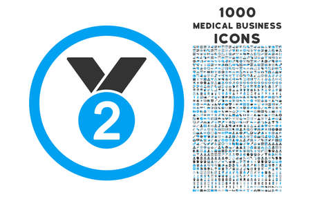 silver medal: Silver Medal rounded vector bicolor icon with 1000 medical business icons. Set style is flat pictograms, blue and gray colors, white background. Illustration