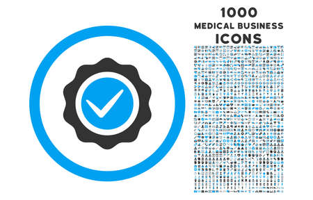 valid: Valid rounded vector bicolor icon with 1000 medical business icons. Set style is flat pictograms, blue and gray colors, white background.