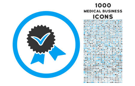 validation: Validation Seal rounded vector bicolor icon with 1000 medical business icons. Set style is flat pictograms, blue and gray colors, white background.
