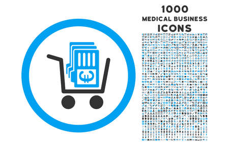 distribute: Euro Cash Out rounded vector bicolor icon with 1000 medical business icons. Set style is flat pictograms, blue and gray colors, white background.