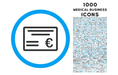 checkbook: Euro Cheque rounded vector bicolor icon with 1000 medical business icons. Set style is flat pictograms, blue and gray colors, white background.