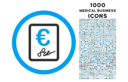 indenture: Euro Contract rounded vector bicolor icon with 1000 medical business icons. Set style is flat pictograms, blue and gray colors, white background. Illustration