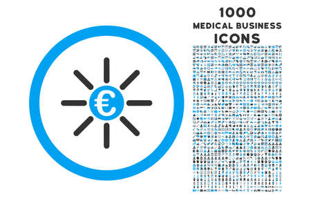 medical distribution: Euro Distribution rounded vector bicolor icon with 1000 medical business icons. Set style is flat pictograms, blue and gray colors, white background. Illustration