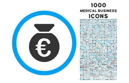 euro money: Euro Money Bag rounded vector bicolor icon with 1000 medical business icons. Set style is flat pictograms, blue and gray colors, white background.