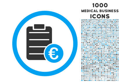 item list: Euro Prices rounded vector bicolor icon with 1000 medical business icons. Set style is flat pictograms, blue and gray colors, white background. Illustration