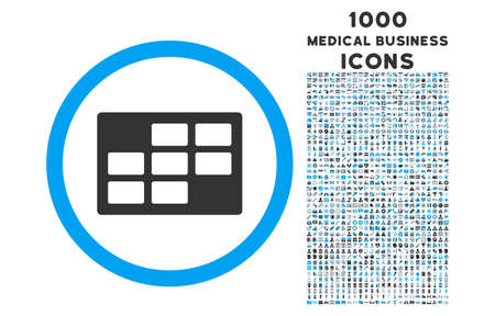 dataset: Calendar Table rounded glyph bicolor icon with 1000 medical business icons. Set style is flat pictograms, blue and gray colors, white background.