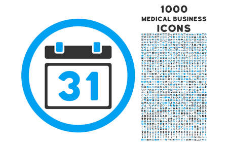 first form: Last Month Day rounded vector bicolor icon with 1000 medical business icons. Set style is flat pictograms, blue and gray colors, white background. Illustration