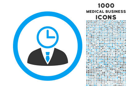 temporary workers: Time Manager rounded vector bicolor icon with 1000 medical business icons. Set style is flat pictograms, blue and gray colors, white background. Illustration