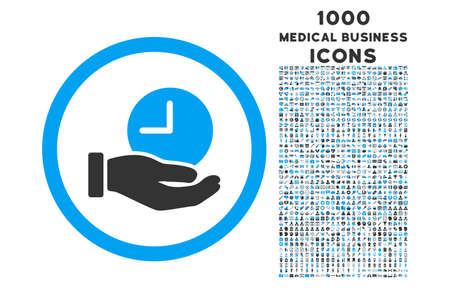 schedule system: Time Service rounded vector bicolor icon with 1000 medical business icons. Set style is flat pictograms, blue and gray colors, white background.