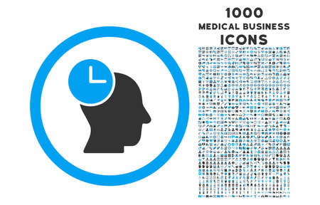 temporary workers: Time Thinking rounded vector bicolor icon with 1000 medical business icons. Set style is flat pictograms, blue and gray colors, white background. Illustration