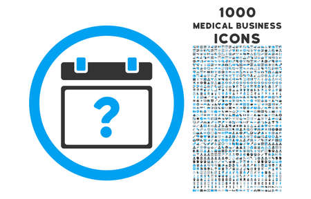 unnamed: Unknown Date rounded vector bicolor icon with 1000 medical business icons. Set style is flat pictograms, blue and gray colors, white background. Illustration
