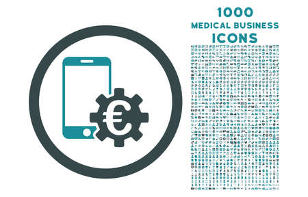 configure: Configure Mobile Euro Bank rounded vector bicolor icon with 1000 medical business icons. Set style is flat pictograms, soft blue colors, white background.