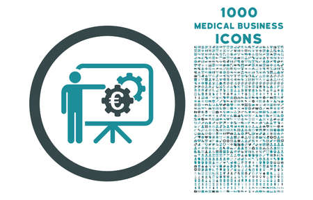 Euro Business Project Presentation rounded vector bicolor icon with 1000 medical business icons. Set style is flat pictograms, soft blue colors, white background. Illustration