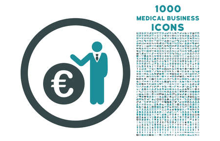 economist: Euro Economist rounded vector bicolor icon with 1000 medical business icons. Set style is flat pictograms, soft blue colors, white background.