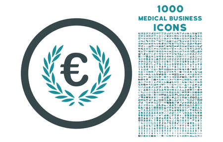 cognizance: Euro Glory rounded vector bicolor icon with 1000 medical business icons. Set style is flat pictograms, soft blue colors, white background.